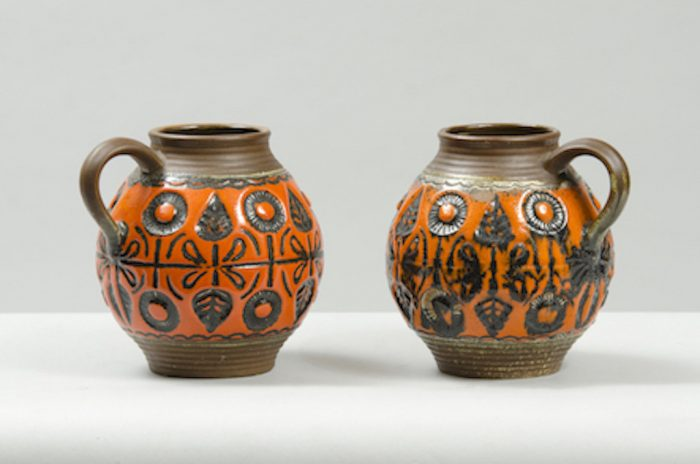 Pair of glazed ceramic jugs 1960s
