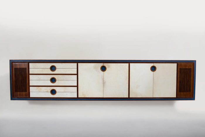 Large Mid-century Modern Parchment and Rosewood Sideboard