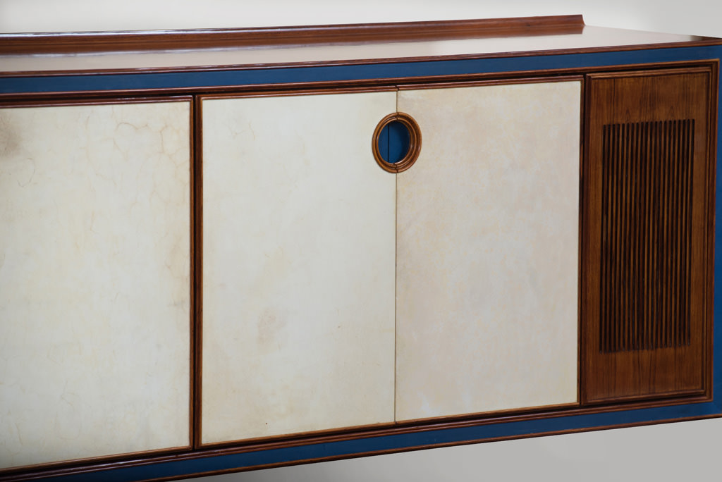Large Mid-century Modern Parchment and Rosewood Sideboard | 3