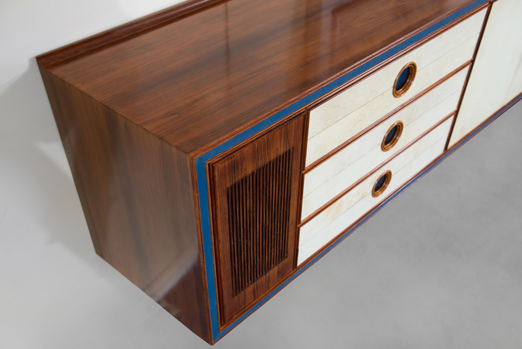 Large Mid-century Modern Parchment and Rosewood Sideboard | 4