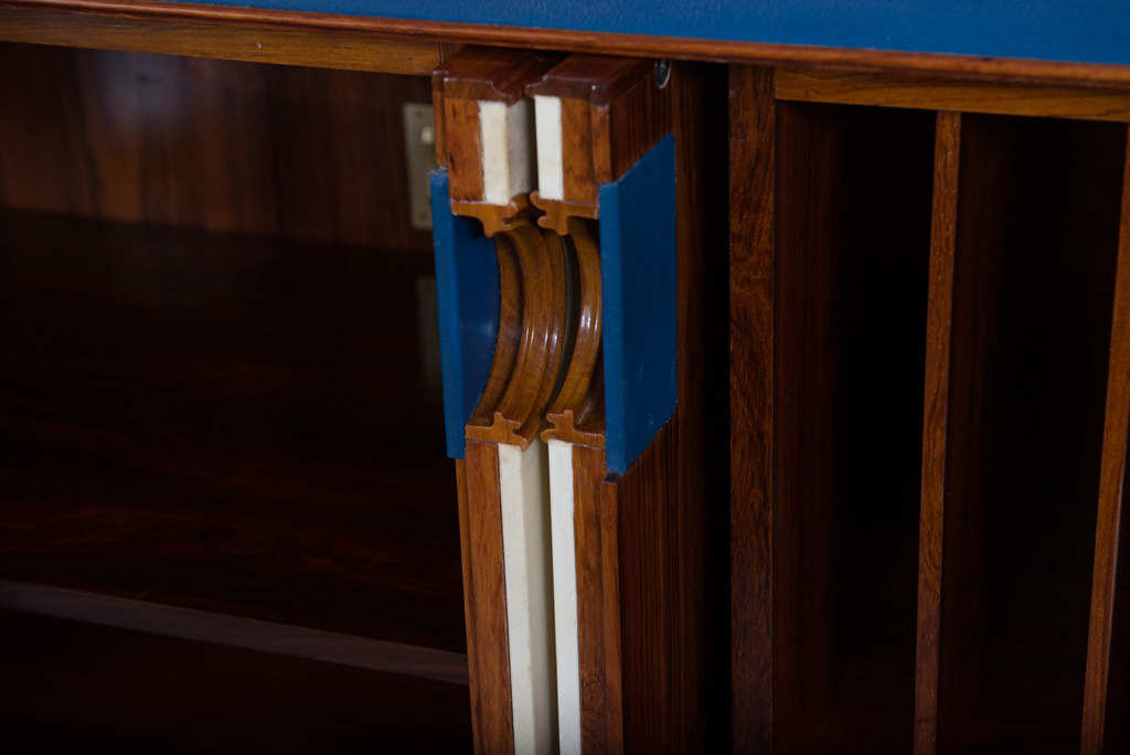 Large Mid-century Modern Parchment and Rosewood Sideboard | 7