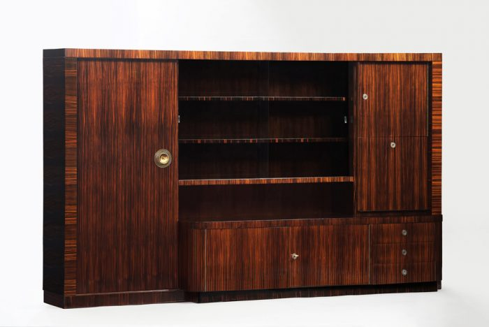 Art Deco Macassar Ebony Bookcase/Bar