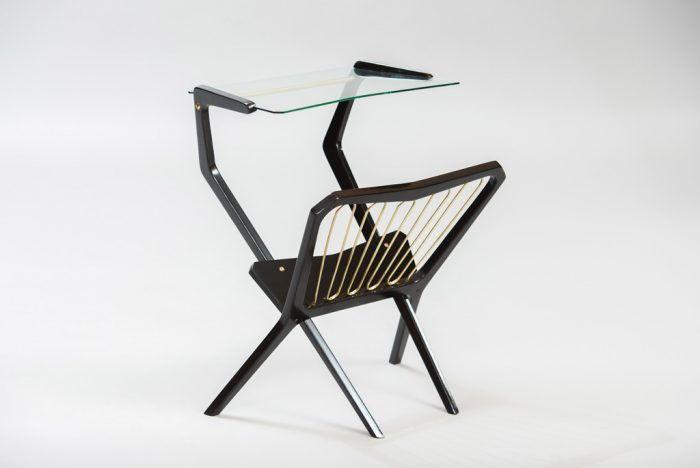Italian Mid-century Modern Side Table with Magazine Rack